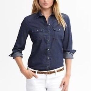 Banana Republic Essential Denim Shirt Dark Wash XS